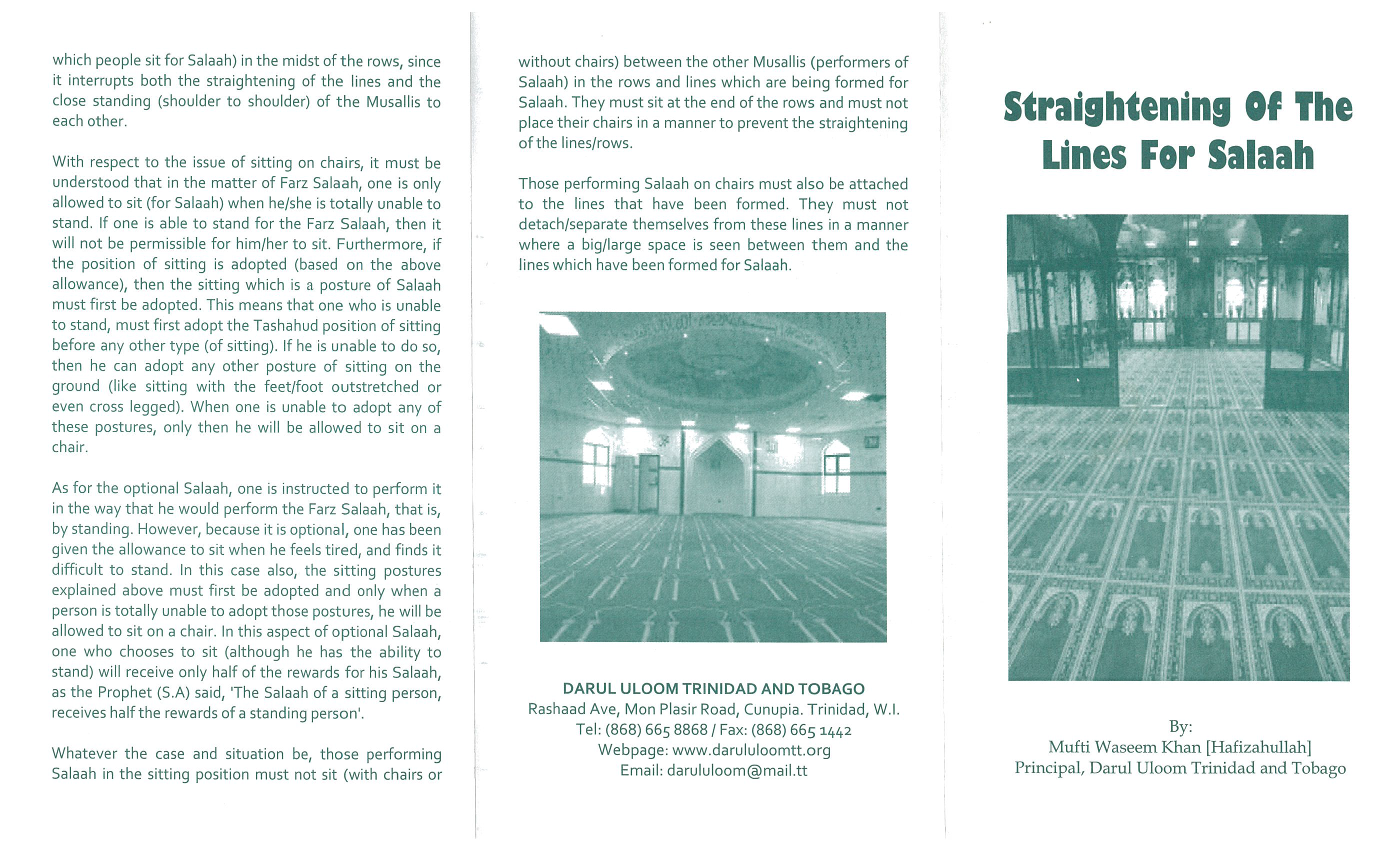 Straightening of the Lines For Salaah (pamphlet)