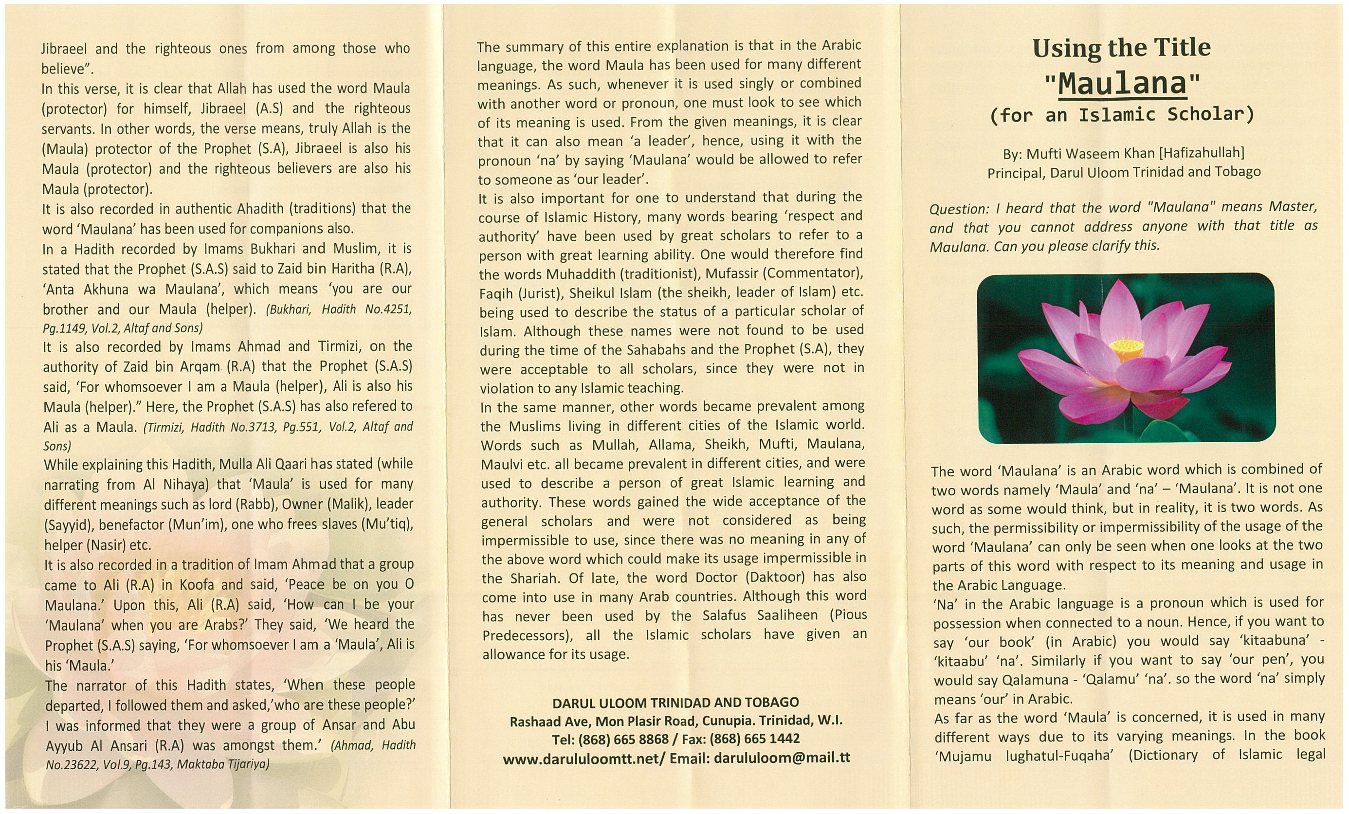 Using the Tittle 'Maulana' For An Islamic Scholar (Pamphlet)